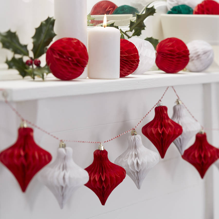 Original Christmas Red And White Honeycomb Bauble Garland